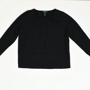 Lauren Ralph Lauren  Plus 2X Black   Blouse Cotton